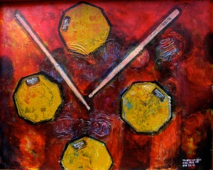 "Real Feel Pads x4 and Innovative Percussion CL-1s 2010 24""x30"" Acrylic on canvas"
