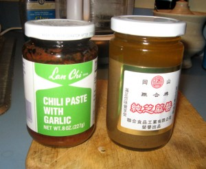Chili-garlic paste and Chinese sesame paste